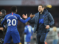 Football - 2019 / 2020 Premier League - Arsenal vs. Chelsea<br /> <br /> Chelsea manager, Frank Lampard celebrates with Callum Hudson - Odoi after the match, at The Emirates.<br /> <br /> COLORSPORT/ANDREW COWIE