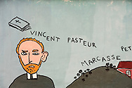 Mural at the disused Marcasse colliery near Mons, Belgium. The figure painted here is Van Gogh, who lived and worked as a preacher in this area of the Borinage before becoming a painter. © Rudolf Abraham