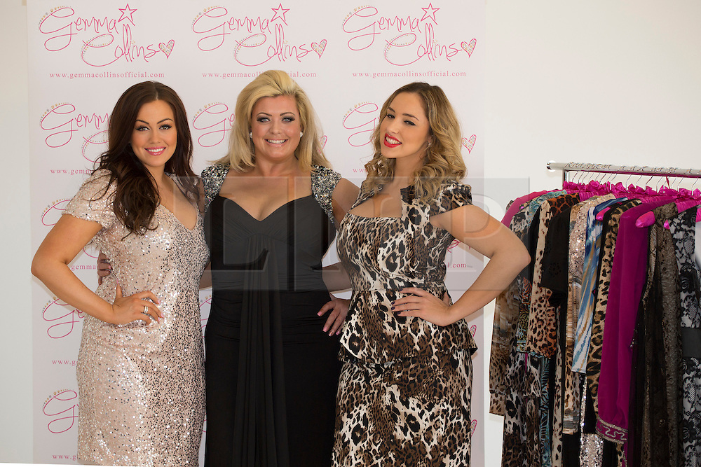 © licensed to London News Pictures. London, UK 05/11/2012. Gemma Collins (centre) launching her the plus-size collection with two models at The Worx studious in London. Photo credit: Tolga Akmen/LNP
