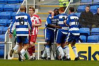 Photo: Richard Lane.<br /> Reading v Sheffield United. Nationwide Division One. 28/02/2004<br /> Reading celebrate Shaun Goater's penalty.