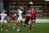Bristol Bears Charles Piutau Gloucester Rugbys Santiago Carreras during the Gallagher Premiership Rugby match between Gloucester Rugby and Bristol Rugby at the Kingsholm Stadium, Gloucester, United Kingdom on 12 February 2021.