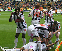 Photo: Mark Stephenson.<br /> Wolverhampton Wanderers v West Bromwich Albion. Coca Cola Championship. Play off Semi Final, 1st Leg. 13/05/2007.West Brom's players celebrate Kevin Phillips goal