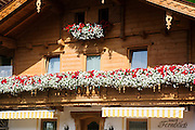 Austria, Tyrol The village of Gerlos Flower decorated house