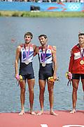 Eton Dorney, Windsor, Great Britain,..2012 London Olympic Regatta, Dorney Lake. Eton Rowing Centre, Berkshire.  Dorney Lake.  .GBR LM 2X Silver Medalist, left Zac PURCHASE and Mark HUNTER..12:58:34  Saturday  04/08/2012   [Mandatory Credit: Peter Spurrier/Intersport Images]