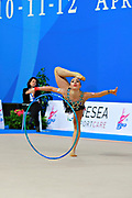 Pazhava Salome during qualifying at hoop in Pesaro World Cup at Adriatic Arena on 10 April 2015. Salome was born on September 3 1997 in Tbilisi. She is a Georgian individual rhythmic gymnast