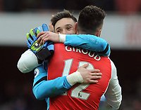 Football - 2016 / 2017 Premier League - Arsenal vs. Tottenham Hotspur<br /> <br /> Hugo Lloris and Olivier Giroud ( French team mates ) embrace after the match at The Emirates.<br /> <br /> COLORSPORT/ANDREW COWIE