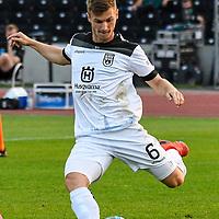 12.09.2020, Donaustadion, Ulm, GER, DFB Pokal, SSV Ulm 1846 Fussball vs FC Erzgebirge Aue, <br /> DFL REGULATIONS PROHIBIT ANY USE OF PHOTOGRAPHS AS IMAGE SEQUENCES AND/OR QUASI-VIDEO, <br /> im Bild Thomas Geyer (Ulm, #6)<br /> <br /> Foto © nordphoto / Hafner