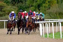Costa Adeje ridden by Liam Jones (right) leads the field during the Download The At The Races App Nursery at Wolverhampton racecourse. Picture date: Monday October 11, 2021.