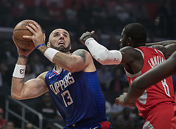 October 21, 2018 - Los Angeles, California, U.S - Marcin Gortat #13 of the Los Angeles Clippers looks to take a shot during their NBA game with the Houston Rockets on Sunday October 21, 2018 at the Staples Center in Los Angeles, California. (Credit Image: © Prensa Internacional via ZUMA Wire)