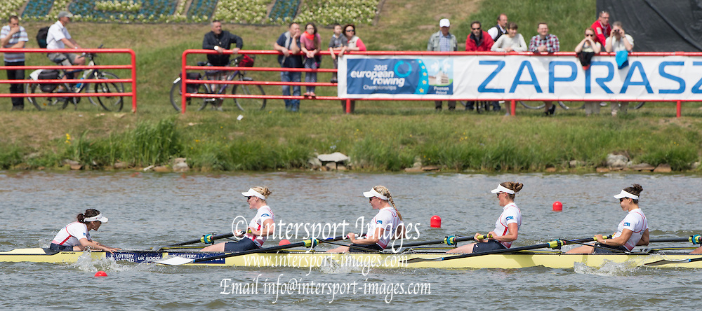 Poznan. Poland. Women's Eights. GBR W8+. right to left. Katie GREVES, and Zoe LEE, Cox. Zoe DE TOLEDO, Finals day at the FISA 2015 European Rowing Championships. Venue Lake Malta. 31.05.2015. [Mandatory Credit: Peter Spurrier/Intersport-images] .   Empacher.