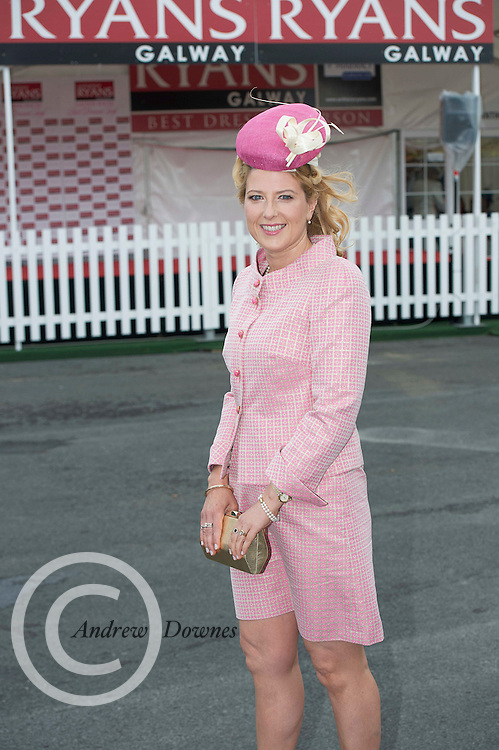 31/07/2014 Repro Free  Audrey Kinahan from University Pharamacy at the Anthony Ryans Best Dressed Ladies day  at the Galway Races Summer Festival <br />  .Photo:Andrew Downesfrom