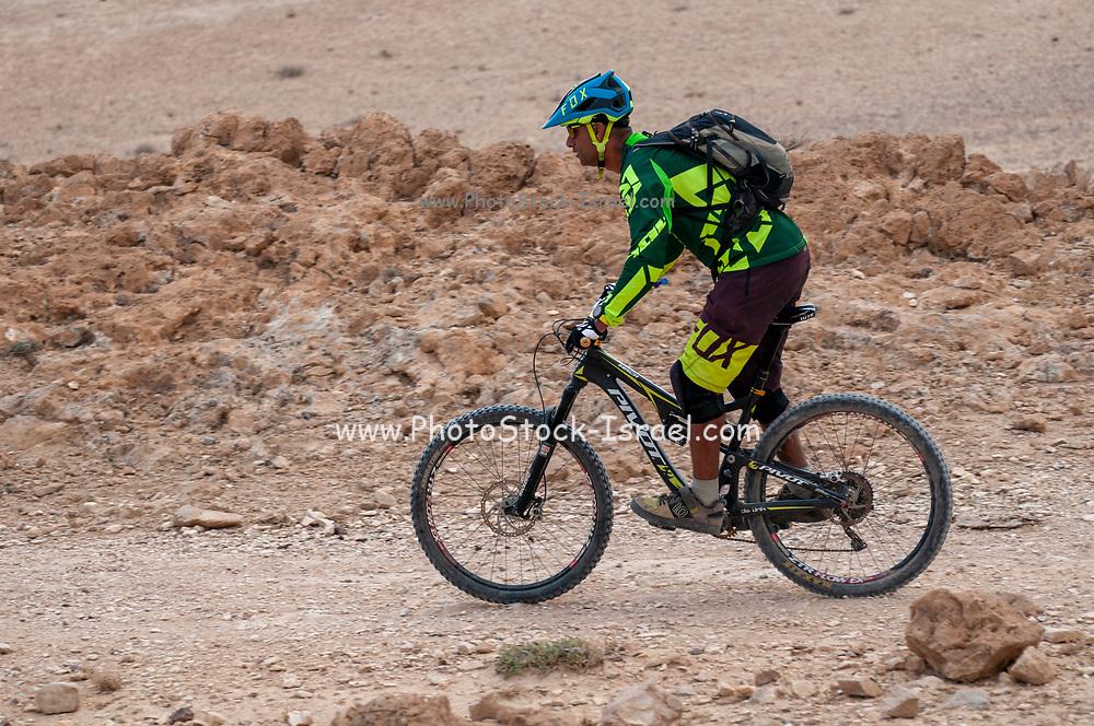 Group of cyclists exploring the Negev Desert, Israel at Wadi Tzeelim [Tzeelim Stream] Near Arad, Israel