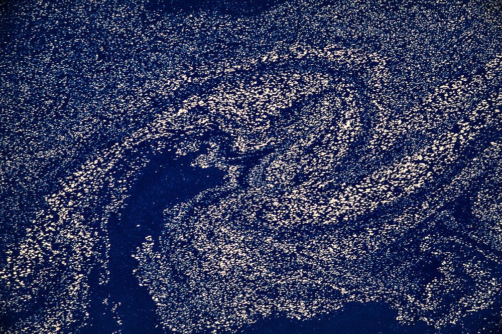Pollen pattern, surface of Crater Lake, Crater Lake National Park, Oregon, USA