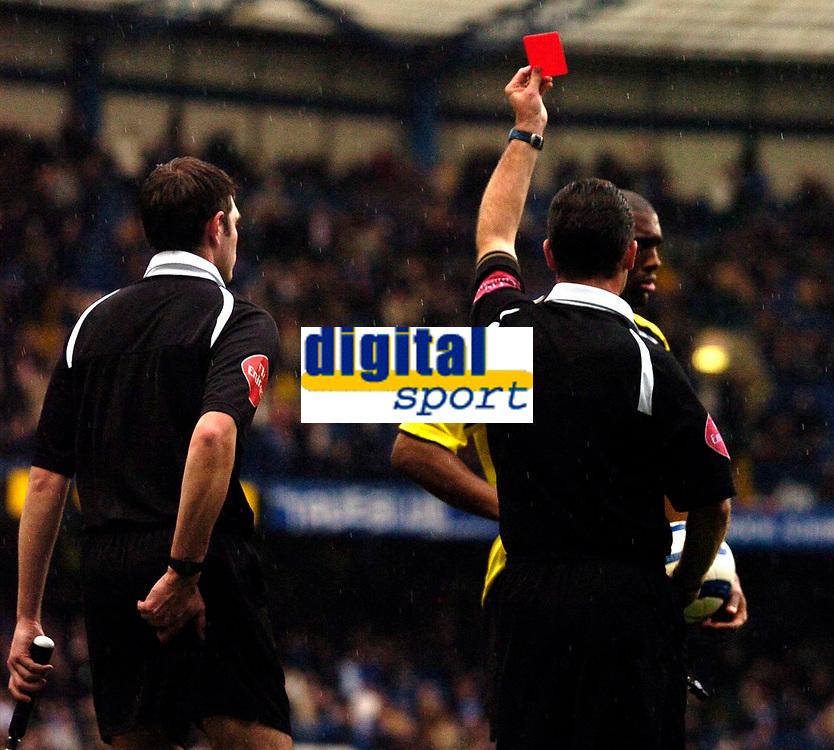 Photo: Alan Crowhurst.<br />Chelsea v Manchester City. The Barclays Premiership. 25/03/2006. Referee Rob Styles sends off Man City captain Sylvian Distin.
