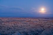 Landscape under moonlight, Badlands National Park, South Dakota, USA.