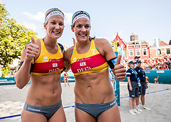 17-07-2018 NED: CEV DELA Beach Volleyball European Championship day 3<br /> Victoria Bieneck #2, Isabel Schneider #1 GER