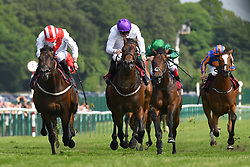 Sands Of Mali ridden by Paul Hanagan (centre) goes on to win the Armstrong Aggregates Sandy Lane Stakes (Class 1) at Haydock Park Racecourse.