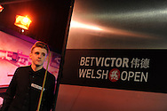 Joel Walker in action during his match against Stephen Maguire. Bet Victor Welsh open snooker at the Newport centre in Newport, South Wales on Thursday 27th Feb 2014.<br /> pic by Andrew Orchard, Andrew Orchard sports photography.
