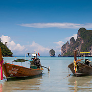 Beautiful longtail boats on Phi-Phi island, Thailand