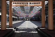 An empty Greenwich Market on 15th April 2020 in Greenwich, London, United Kingdom. Chancellor of the Exchequer, Rishi Sunak has said the Office for Budget Responsibility OBR, the UKs tax and spending watchdog suggests the coronavirus crisis will have serious implications for the UK economy, warning the pandemic could see the economy shrink by a record 35% by June, increasing unemployment by over 2 million and sending the budget deficit to its highest since World War II.