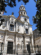 Church of Our Lady of Belen and San Pedro Gonzalez Telmo was built starting in 1734 and restored in 1918 in San Telmo barrio, the heart of old Buenos Aires, Argentina, South America. The eclectic front face of Nuestra Señora de Belén Church includes Neo Colonial and Barroc styles.