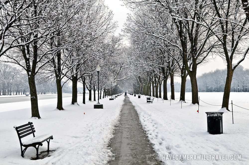 A cleared pathway on Washington's National Mall after a big snowstorm.