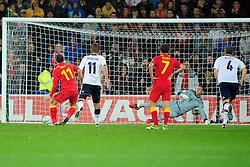 Wales Gareth Bale (Tottenham) scores his penalty - Photo mandatory by-line: Joe Meredith/JMP  - Tel: Mobile:07966 386802 12/10/2012 - Wales v Scotland - SPORT - FOOTBALL - World Cup Qualifier -  Cardiff   - Cardiff City Stadium -