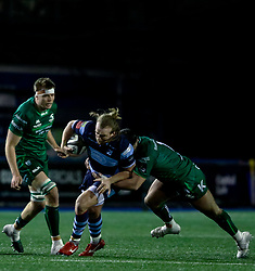Kristian Dacey of Cardiff Blues is tackled by Denis Buckley of Connacht<br /> <br /> Photographer Simon King/Replay Images<br /> <br /> Guinness PRO14 Round 14 - Cardiff Blues v Connacht - Saturday 26th January 2019 - Cardiff Arms Park - Cardiff<br /> <br /> World Copyright © Replay Images . All rights reserved. info@replayimages.co.uk - http://replayimages.co.uk