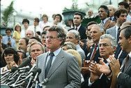 Washington, DC 1982/08/01 Senator Ted Kennedy speaking to an event on an econmic bill at the  West Front of the U.S. Capitol.<br />Photo by Dennis Brack