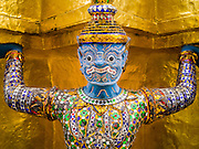 05 MAY 2013 - BANGKOK, THAILAND:   Hanuman statues guard a chedi at the Grand Palace in Bangkok. The Grand Palace is a complex of buildings at the heart of Bangkok. The palace has been the official residence of the Kings of Siam (and later Thailand) since 1782. The king, his court and his royal government were based on the grounds of the palace until 1925. The present monarch, King Bhumibol Adulyadej (Rama IX), currently resides at Chitralada Palace, but the Grand Palace is still used for official events. Several royal ceremonies and state functions are held within the walls of the palace every year. Construction of the palace began on 6 May 1782, at the order of King Buddha Yodfa Chulaloke (Rama I), the founder of the Chakri Dynasty, when he moved the capital city from Thonburi to Bangkok. Throughout successive reigns, many new buildings and structures were added, especially during the reign of King Chulalongkorn (Rama V).     PHOTO BY JACK KURTZ