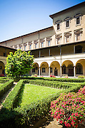 The Canon's Cloister and garden, Basilica di San Lorenzo, Florence, Tuscany, Italy
