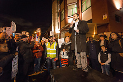 © Licensed to London News Pictures. 04/12/2015. London, UK. Mohammed Kozbar, chairman of Finsbury Park Mosque speaking at an anti-Islamophobia rally and protest against racism and anti-muslim hate crime, outside the Finsbury Park Mosque in north London. The rally, organised by Finsbury Park Mosque, Stand Up To Racism and Stop The War Coalition follows an attempted arson attack on Finsbury Park Mosque last week and was attended by Labour Party leader and local MP for Islington North, Jeremy Corbyn. Photo credit : Vickie Flores/LNP