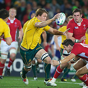 Scott Higginbotham, Australia, in action during the Australia V Wales Bronze Final match at the IRB Rugby World Cup tournament, Auckland, New Zealand. 21st October 2011. Photo Tim Clayton...