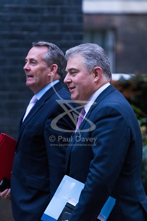 London, December 05 2017. Home Office Minister Brandon Lewis and Secretary of State for International Trade Liam Fox arrives at 10 Downing Street to attend the weekly cabinet meeting. © Paul Davey