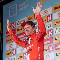 Sammenlagtleder Cees Bol etter Tour of Norway sykkelritt etappe 2: Kvinesdal - Mandal.