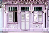 Singapour, Maisons Peranakan dans le quartier d'Eunos à l'est de la ville // Singapore, Peranakan houses in Euros District at the east of the city