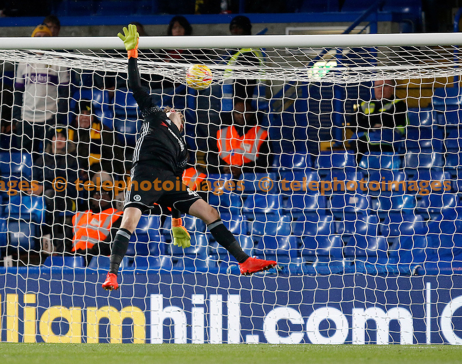 Chelsea's Bradley Collins sees a shot over the bar during the Checkatrade Trophy match between Chelsea U21's and Oxford United at Stamford Bridge in London. November 8, 2016.<br /> Carlton Myrie / Telephoto Images<br /> +44 7967 642437