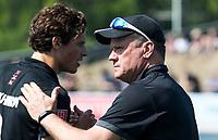 UTRECHT -  coach Graham Reid (Adam) met Boris Burkhardt (A'dam)  voor  de finale van de play-offs om de landtitel tussen de heren van Kampong en Amsterdam (3-1). COPYRIGHT  KOEN SUYK