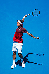 January 14, 2019 - Melbourne, VIC, U.S. - MELBOURNE, VIC - JANUARY 13: ROGER FEDERER (SUI) .during practice day of the 2019 Australian Open on January 13, 2019, at Melbourne Park Tennis Centre in Melbourne, Australia. (Photo by Chaz Niell/Icon Sportswire) (Credit Image: © Chaz Niell/Icon SMI via ZUMA Press)