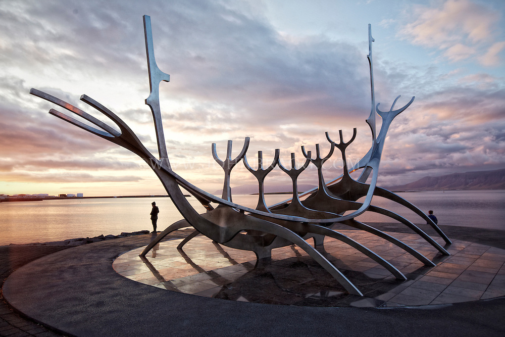 Sólfar (Sun Voyager) sculpture in the harbor, Reykjavik, Iceland.