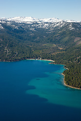 """""""Meeks Bay, Lake Tahoe Aerial"""" - Photograph of Meeks Bay in Lake Tahoe, shot from an amphibious seaplane with the door removed."""