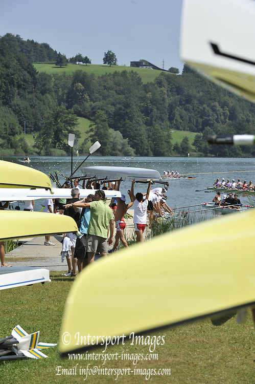 Lucerne SWITZERLAND,  Gerneral Views Boat Park area at the   2011 FISA World Cup on the Lake Rotsee.  12:19:27  Saturday   09/07/2011   [Mandatory Credit Peter Spurrier/ Intersport Images]