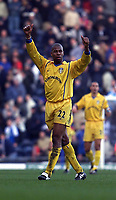 Fotball: Leeds Michael Duberry celebrates the 2-1 victory of Blackburn Rovers at Ewood Park.<br />