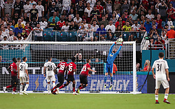 July 31, 2018 - Miami Gardens, Florida, USA - Real Madrid C.F. goalkeeper Keylor Navas (1) leaps to catch a ball during an International Champions Cup match between Real Madrid C.F. and Manchester United F.C. at the Hard Rock Stadium in Miami Gardens, Florida. Manchester United F.C. won the game 2-1. (Credit Image: © Mario Houben via ZUMA Wire)