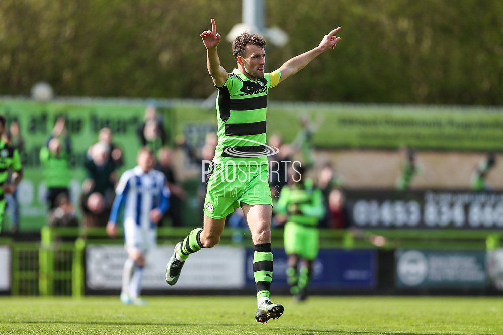 Forest Green Rovers Christian Doidge(9) scores a goal 1-0 and celebrates during the Vanarama National League match between Forest Green Rovers and Chester FC at the New Lawn, Forest Green, United Kingdom on 14 April 2017. Photo by Shane Healey.