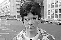 Mrs Eileen McCabe, leaving a Belfast Court in March 1970 after being awarded £8000 compensation for the death of her husband, Trooper Hugh McCabe, Queen's Royal Irish Hussars, in August 1969. Trooper McCabe, who was shot in disputed circumstances by police near Hastings Street RUC Station. At the time Trooper McCabe was on leave from his regiment in Germany and in the vicinity of his family home in the Divis Flats complex. 197003000122b<br /> <br /> Copyright Image from Victor Patterson, 54 Dorchester Park, Belfast, UK, BT9 6RJ<br /> <br /> t1: +44 28 9066 1296<br /> t2: +44 28 9002 2446<br /> m: +44 7802 353836<br /> <br /> e1: victorpatterson@me.com<br /> e2: victorpatterson@gmail.com<br /> <br /> IMPORTANT: My Terms and Conditions of Business are at www.victorpatterson.com