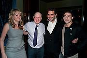 Sonia Freidman; Matt Lucas; Daniel Kramer; Chris New, Party after the opening of  'Prick Up Your Ear's'  at the Comedy theatre. Cafe de Paris. Leicester Sq. London. 30 September 2009