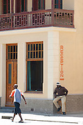 Local people outside a hotel in Swakopmund, Namibia
