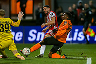 Brentford forward Neal Maupay (9) shoots towards the goal during the The FA Cup fourth round match between Barnet and Brentford at The Hive Stadium, London, England on 28 January 2019.