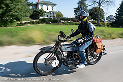 Tanner Whitton riding Mark Hill's 1917 Henderson on the Motorcycle Cannonball coast to coast vintage run. Stage 6 (260 miles) from Bourbonnais, IL to Cedar Rapids, IA. Thursday September 13, 2018. Photography ©2018 Michael Lichter.